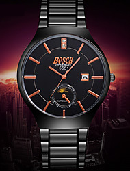 Men's Fashion Ultra-thin Black Gold Just Alloy Watchband Imitation Tungsten Steel Waterproof Calendar Quartz Watch