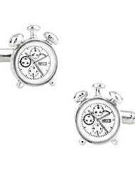 Men's Fashion Clock Style Silver Alloy French Shirt Cufflinks (1-Pair) Christmas Gifts