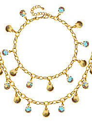 Shells Shape Necklace Bracelet 18K Gold Plated Women Jewelry New Trendy Colorful Crystal 48MM Necklace Gift NB60086