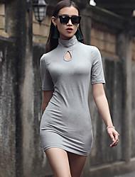 VERRAGEE® Mujer Escote Chino Manga Corta Sobre la Rodilla Vestidos-Q325