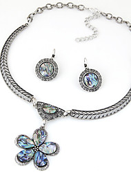 Women European Style Fashion Simple Vintage Metal Plum Flower Necklace Earring Set