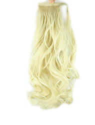 Länge Weißgold Perücke Locken Pferdeschwanz 60cm synthetische Körperwelle Hochtemperatur-Draht Farbe 613