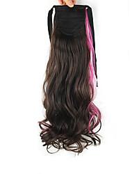 длина темно-розовый парик хвостик фигурная 55см высокой синтетической глубокой волны температуры провода цвет глубокий розовый