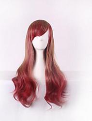 Fashion Color Cartoon Wig COS Brown Gradient Wine Red Wig