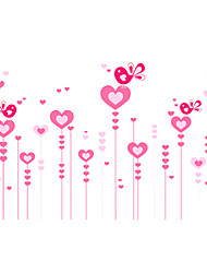 Romance Pink Heart Love Birds Wall Stickers DIY Removable Bedroom Living Room PVC Wall Decals