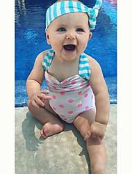 Girl's Summer White Swimwear,Polka Dot Polyester  One Piece  Swimsuit
