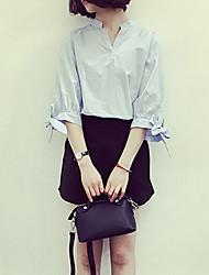Women's Striped Blue Shirt,Stand ½ Length Sleeve