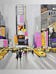Hand Painted Oil Painting Landscape People Walking in Times Square-Ⅱ with Stretched Frame 7 Wall Arts®
