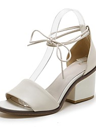 Women's Shoes Leather Chunky Heel Heels / Gladiator / Open Toe Sandals Office & Career / Dress / Casual White