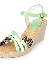 Women's Shoes Wedge Heel Comfort / Round Toe Sandals Wedding / Outdoor / Dress Blue / Green / Pink / Beige