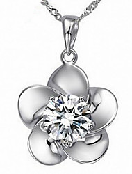 Hualuo® Cubic Zirconia / Silver Plated Necklace Pendant Necklaces / Set Daily / Casual 1set