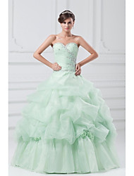 Ball Gown Sweetheart Floor Length Organza Evening Dress with Crystal
