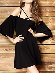 Women's Going out Simple Loose Dress,Solid Off Shoulder Knee-length Short Sleeve Black Nylon Spring