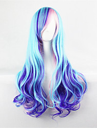 Europe And The United States The New Color Wig 70 cm High Temperature Silk Blue Mix