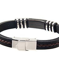 Homens Bracelete Aço Titânio Moda Preto Jóias 1peça