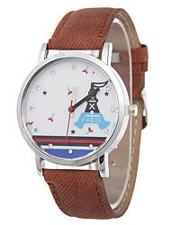 Ladies' Fashion Quartz Cartoon Denim Sail Boat Leather Belt Eiffel Tower Diamante Fashionable Relaxation Watches