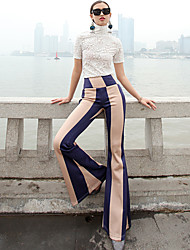 VERRAGEE® Women's High Rise Flare Blue Casual Pants-P301