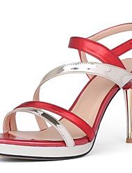 Women's Shoes Cowhide Stiletto Heel Heels / Peep Toe / Platform Sandals Wedding / Party & Evening / Dress Pink / Red