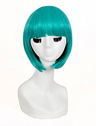 Fashionable Green Color Short Length Straight Cosplay Synthetic Wigs