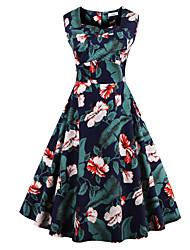 Women's Plus Size Vintage Swing Dress,Floral Square Neck Knee-length Sleeveless Blue / Red / White / Black Cotton Summer