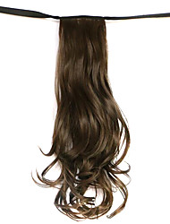Wig Black Chocolate 50CM High-Temperature Wire Strap Style Long Hair Ponytail Colour 8A