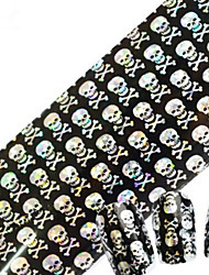 1pcs 100cmx4cm Glitter Nail Foil Sticker Sexy Lace Skull Flower Nail Decorations DIY Beauty STZXK11-15