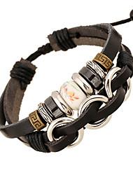 leather Charm BraceletsUnisex Alloy Leather Handcrafted Vintage Strand Bracelet