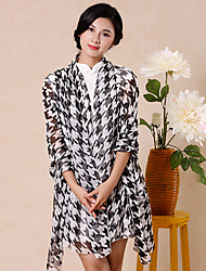 Women Vintage Casual Rectangle Houndstooth Chiffon Stitching Color Long Scarf Shawl