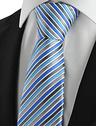 KissTies Men's Tie Blue Gray Striped Wedding/Business/Party/Work/Casual Necktie With Gift Box