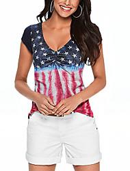 Damen Druck Street Schick Lässig/Alltäglich T-shirt,V-Ausschnitt Sommer Kurzarm Blau Polyester Dünn