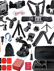 Gopro Accesorios 30 In 1 Kit 3-way Tripod Monopod Shockproof Helmet With Ches GoPro Hero 4 3+ xiaomi yi Tool Box
