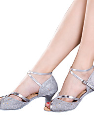 Women's Dance Shoes Belly/Latin/Samba Leatherette/Sparkling Glitter/Paillette/Synthetic Cuban Heel Red/Silver/Other