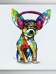 animal cão pintura a óleo pintados à mão com fone de ouvido, com quadro esticado arts® 7 parede