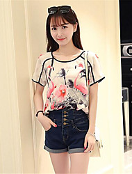 Women's Floral Pink T-shirt,Round Neck Short Sleeve