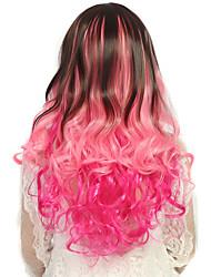 mulheres de 24 polegadas de onda longa e profunda rosa encaracolado cabelo sintético peruca ombre com rede de cabelo gratuito