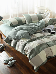 Green plaid Washed Cotton Bedding Sets Queen King Size Bedlinens 4pcs Duvet Cover Set