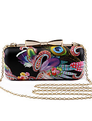 L.WEST Women's The Peacock Feather Bowknot Evening Bag