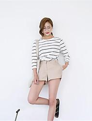 Damen Gestreift Street Schick Ausgehen T-shirt,Rundhalsausschnitt Langarm Weiß Baumwolle Mittel
