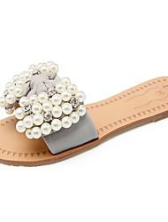 Women's Summer Comfort / Slingback / Open Toe Silk Dress / Casual / Party & Evening Flat Heel Imitation Pearl Gray / Beige