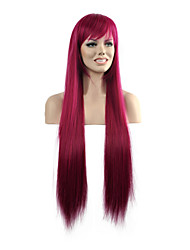 Popular Straight Rose Color Woman's Party Synthetic Wigs