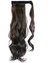 peruca cor preta 45 centímetros sintética fio de alta temperatura encaracolado rabo de cavalo 8