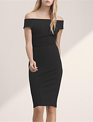 Women's Sexy Solid Bodycon Dress,Off Shoulder Knee-length Nylon