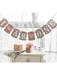 Baby Boy Girl 1st Birthday Party Banner I AM ONE Pink Blue Hearts  Party Garlands Photo Props