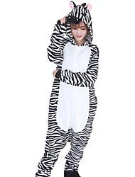 Kigurumi Pyjamas Zébré Collant/Combinaison Halloween Pyjamas animale Blanc / Noir Mosaïque Flanelle Kigurumi UnisexeHalloween / Noël /
