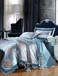 Blue Bedding Set Queen King Size Luxury Silk Cotton Blend Lace Duvet Cover Sets Jacquard Pattern