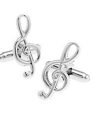 Men's Fashion Musical Note Silver Alloy French Shirt Cufflinks (1-Pair)