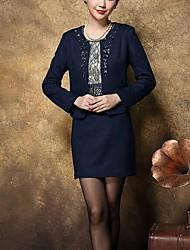 Gaine Robe Aux femmes Soirée / Cocktail / Grandes Tailles simple,Jacquard Col Arrondi Au dessus du genou Manches Longues Bleu / Rouge