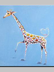 Large Hand Painted Lovely Giraffe Oil Painting On Canvas Modern Animal Wall Art For Home Decor With Frame