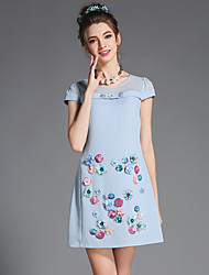 Fashion Summer Women Retro Bead 3D Flowers Plus Size Short Sleeve Dress