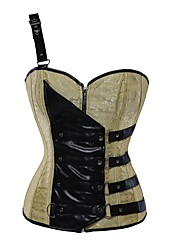 YUIYE® One Shoulder Straper Ladies Overbust Bustier Corset Tops Yellow Embroidery Satin Waist Cincher With Faux Leather